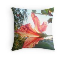 Red Hibicus's-Inner Glow Throw Pillow