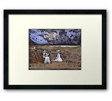 Children on a beach Framed Print