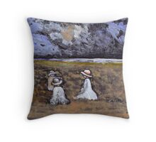 Children on a beach Throw Pillow