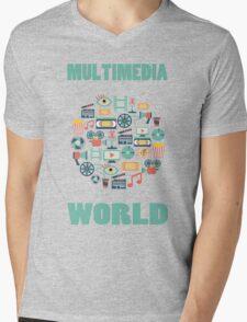 MULTIMEDIA WORLD Mens V-Neck T-Shirt