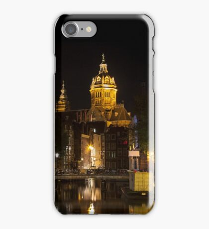 Amsterdam night: Church of Saint Nicholas iPhone Case/Skin
