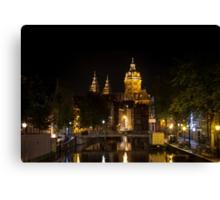 Amsterdam night: Church of Saint Nicholas Canvas Print