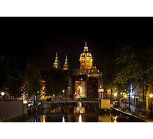 Amsterdam night: Church of Saint Nicholas Photographic Print
