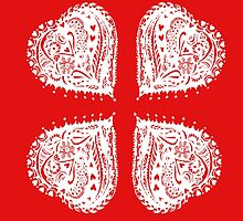 4 Hearts White Aussie Tangle - See Description Notes re Colour Options by Heatherian