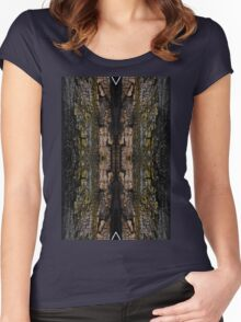 Mossy wood bark pattern Women's Fitted Scoop T-Shirt
