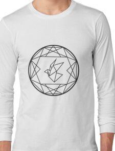Geometric Paper Crane Design Long Sleeve T-Shirt