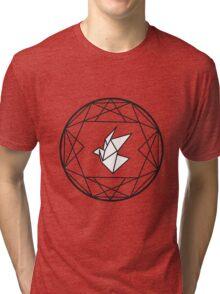Geometric Paper Crane Design Tri-blend T-Shirt