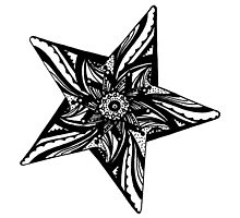 Star Tangles 2 Black - An Aussie Tangle by Heather Holland - See Description Notes for Colour Options.  by Heatherian