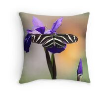 Zebra Longwing on Iris  Throw Pillow