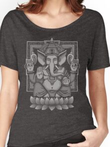 Ganesh White Halftone Women's Relaxed Fit T-Shirt