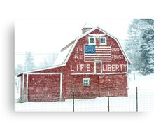 Americana Barn in the Snow Storm Canvas Print