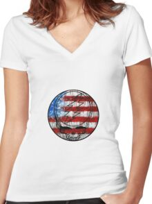 Grateful Dead Deadhead American Flag Women's Fitted V-Neck T-Shirt