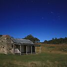 Brayshaws Hut under moonlight by Tim Coleman