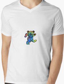 Grateful Dead Dancing Bear Tye Dye Mens V-Neck T-Shirt