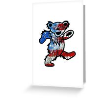 Grateful Dead Dancing Bear American Flag Greeting Card