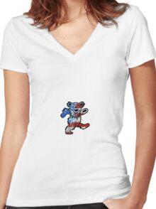 Grateful Dead Dancing Bear American Flag Women's Fitted V-Neck T-Shirt