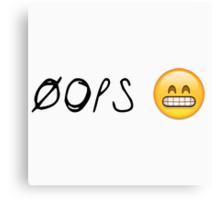Oops Awkward Emoji Canvas Print