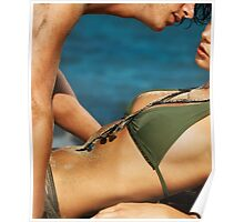 Young sensual couple kissing on the beach art photo print Poster