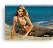 Beautiful young blond woman on the beach art photo print Canvas Print