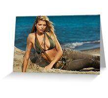 Beautiful young blond woman on the beach art photo print Greeting Card