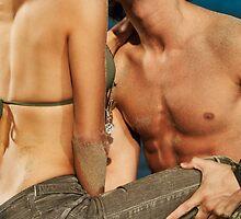 Sensual young couple kissing on the beach art photo print by ArtNudePhotos