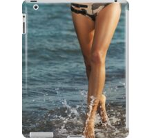 Young woman running along the beach art photo print iPad Case/Skin