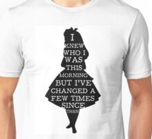 Alice In Wonderland I Knew Who I Was Quote Mad Hatter Chesire Cat Unisex T-Shirt
