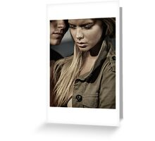 Dramatic closeup romantic portrait of a couple Black and white art photo print Greeting Card