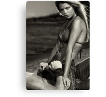 Sensual dramatic black and white portrait of a sexy couple at a sandy beach art photo print Canvas Print