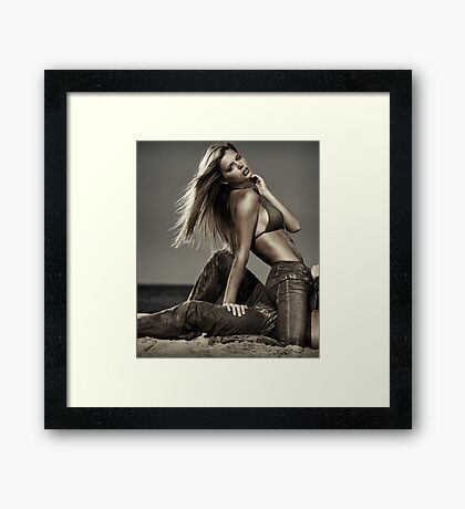 Sensual portrait of sexy couple on a sandy beach Black and white art photo print Framed Print