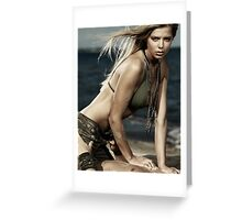 Artistic portrait of sexy young woman and man on the beach art photo print Greeting Card