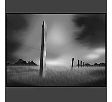 Fence at Night B&W Photographic Print