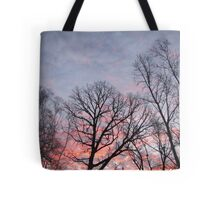 Pink and Purple Sunrise with Trees Photograph Tote Bag