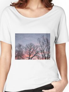 Pink and Purple Sunrise with Trees Photograph Women's Relaxed Fit T-Shirt
