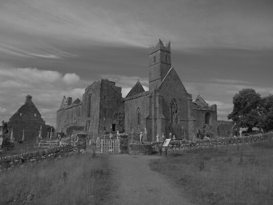 Quin abbey black and white by John Quinn