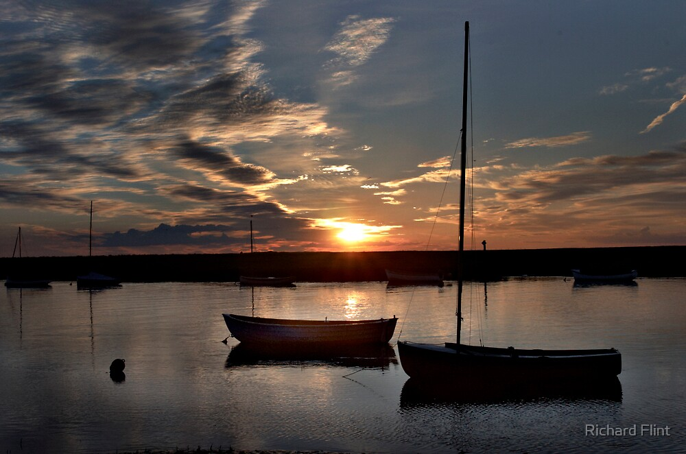 Sunset over Burnham Overy Staithe, Norfolk, UK by Richard Flint