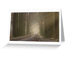 Walking the dog on a misty day Greeting Card