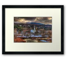 White Church in Vermont - Stowe Framed Print