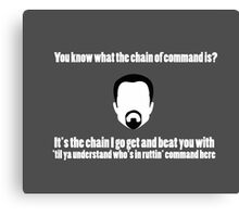 The Chain of Command - White Canvas Print