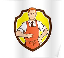 Cook Chef Pointing Shield Cartoon Poster