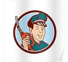 Gas Attendant Nozzle Winking Circle Cartoon Poster