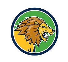 Angry Lion Head Roar Circle Cartoon by patrimonio