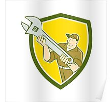 Mechanic Presenting Spanner Wrench Shield Cartoon Poster