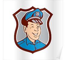 Policeman Winking Smiling Shield Cartoon Poster