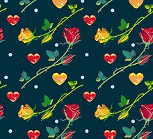 Roses and hearts on a dark background by hollada