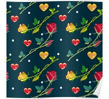 Roses and hearts on a dark background Poster