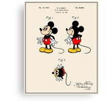 Mickey Mouse Patent - Colour Canvas Print