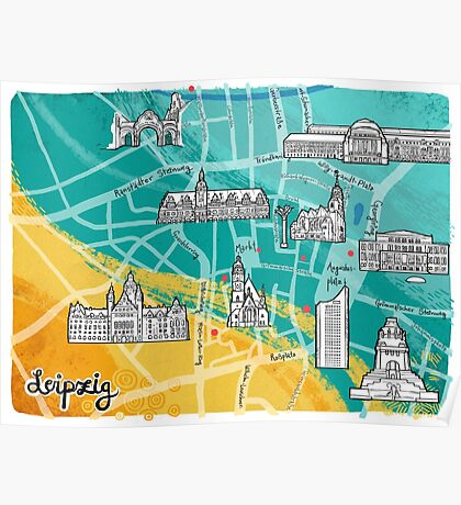 Leipzig Map: Buildings Edition Poster