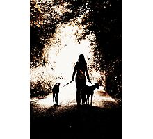 A Girl and Her Greyhounds Photographic Print