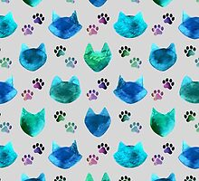 Watercolor Cat Heads - shades of blue & green on slate grey by Perrin Le Feuvre